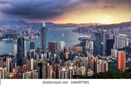 Dramatic sunrise of Hong Kong, China - panorama skyline