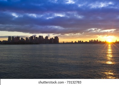 Dramatic sunrise in New York City