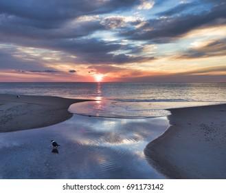 A dramatic sunrise on the Delaware coast.