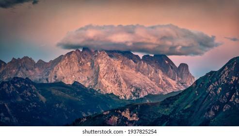 Dramatic sunrise on Giau pass. Amazing summer scene of Dolomite Alps, Cortina d'Ampezzo region, Province of Belluno, Italy, Europe. Aerial landscape photography.