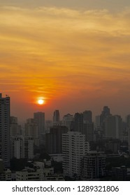 Dramatic sunrise over Bangkok city skyline