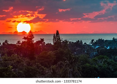 A dramatic sunrise over the sea in Fort Lauderdale Florida.