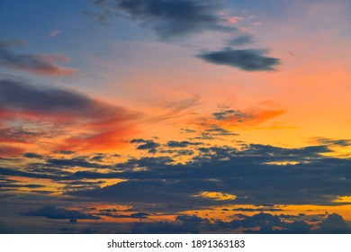 Dramatic sunrise skyine with twilight color of cloud pattern background