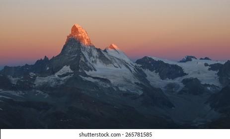 Dramatic sunrise in Zermatt, Matterhorn