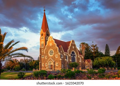 Dramatic sunset above Christchurch, a historic landmark and Lutheran church in Windhoek, capital city of Namibia.