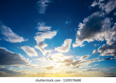 dramatic sunset among a dense clouds, natural background