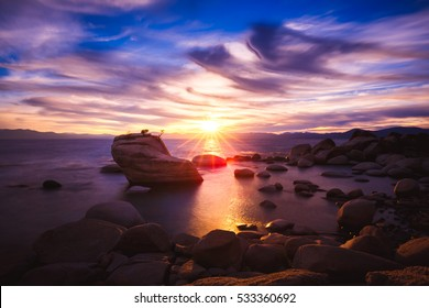 Dramatic Sunset at Bonsai Rock, Lake Tahoe, Nevada