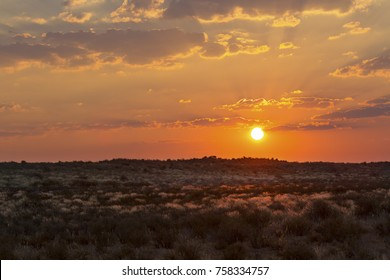 Dramatic sunset with clouds over the grassy plains of the Kalahari