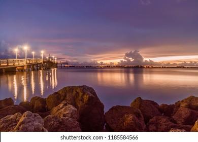 Dramatic sunset with clouds over Sarasota Bay Florida