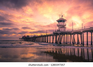 Dramatic Sunset at Huntington Beach Pier in Los Angeles, California