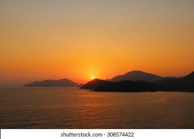 Dramatic sunset image of the mediterannean sea in the dalaman region of Souhern Turkey