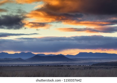 A dramatic sunset in the Karoo, South Africa. Mountain Zebra National Park