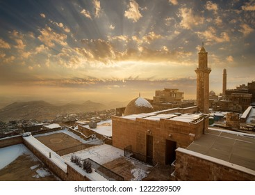 Dramatic sunset in Old Mardin City. Mardin is a famous historical and tourist city in Turkey