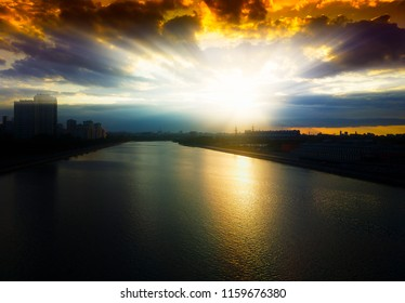 Dramatic sunset on Moscow river background