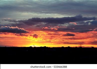Dramatic sunset, orange, red, purple sky