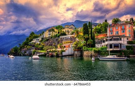 Dramatic sunset over Ascona, a popular resort town on Lago Maggiore, Switzerland