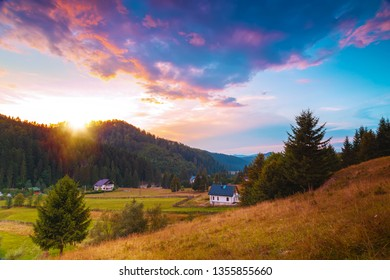 Dramatic sunset over the hills in Voronet, Romania