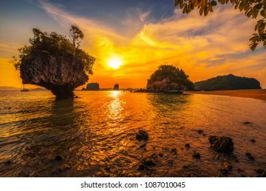 Dramatic sunset over Laopilae archipelago around famous Ko Hong island located in Thanbok Khoranee National Park near Krabi, Thailand.
