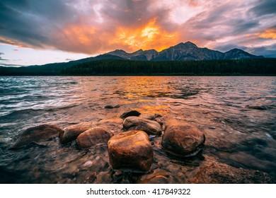 Dramatic sunset over Patricia lake, Jasper