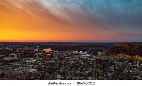 Dramatic Sunset over Red Wing in Minnesota