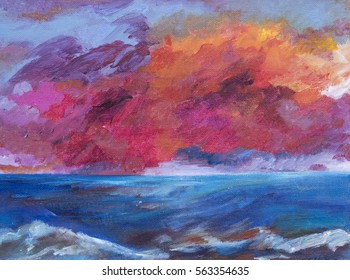 A dramatic sunset over the sea. A hand drawn and semi abstract painted illustration of the sea and sunset in Margate, inspired by Turner. Dramatic pink and red clouds rise above rolling waves.