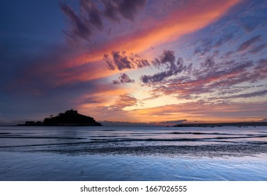 Dramatic Sunset over St Michael's Mount in Marazion, Cornwall