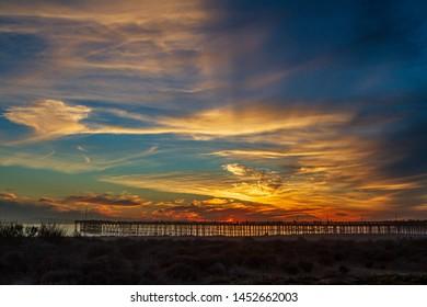 Dramatic sunset over Ventura Pier, California
