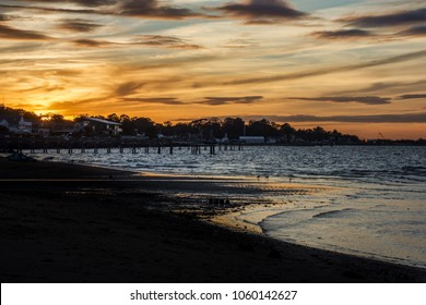 A dramatic sunset overlooking the Atlantic Highlands and Sandy Hook Bay along the Jersey shore.