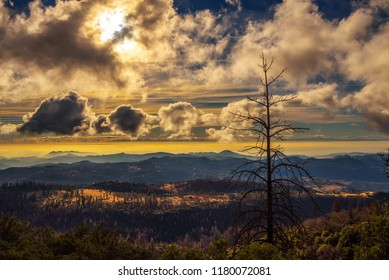 Dramatic sunset in Sierra Nevada viewed from the Kings Canyon road in Dunlap, California.