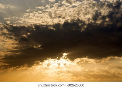 Dramatic sunset with sky and clouds