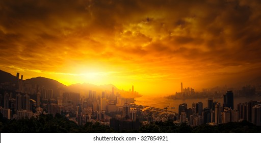Dramatic sunset sky over Hong Kong panoramic view