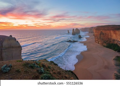 Dramatic sunset sky at The Twelve Apostles, Great Ocean Road, Victoria Australia