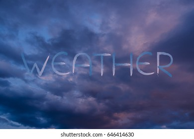 dramatic sunset sky with Weather text in matching color tones