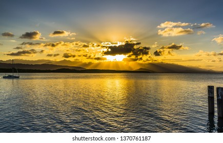 dramatic sunset tropical Port Douglas Coral sea Daintree rainforest great barrier reef
