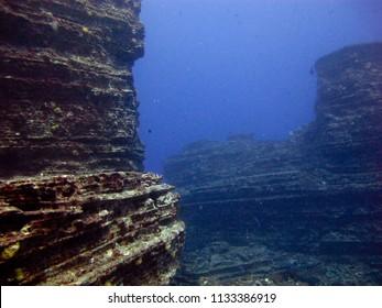 A dramatic underwater landscape.