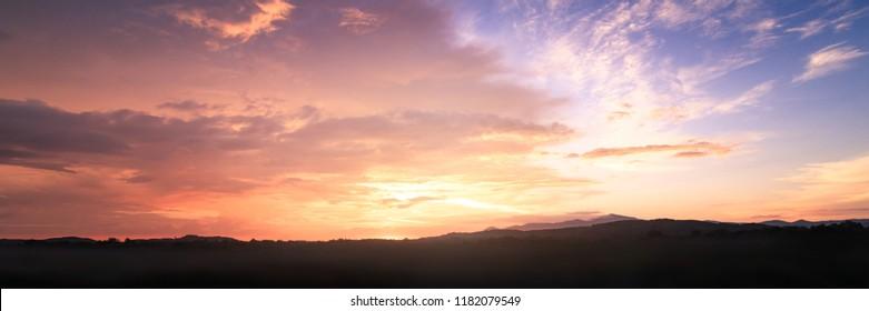 Dramatic valley sky autumn sunset mountain background