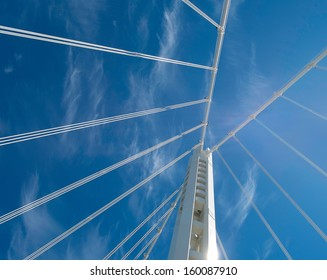 Dramatic view from below of the new east span of the San Francisco-Oakland Bay Bridge