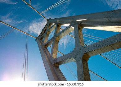 Dramatic view from below of the western span of the San Francisco-Oakland Bay Bridge