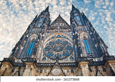 Dramatic view of famous historic St. Vitus Cathedral in prague czech republic
