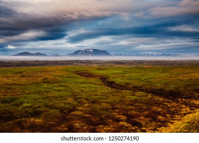Dramatic view of the geothermal valley Leirhnjukur. Location place Krafla volcano, Northeastern region, Iceland, Europe. Typical icelandic panorama. Travel destination. Discover the beauty of earth.