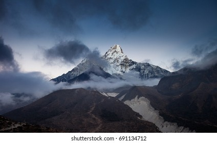 Dramatic view of the most beautiful mountain in the Himalayas - Mt Ama Dablam (6814m), after sunset,Nepal