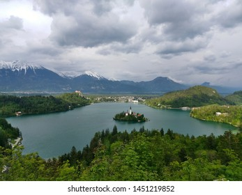 dramatic view on lake bled island