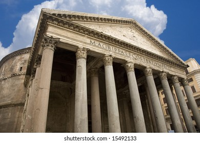 Dramatic view of the Pantheon in Rome Italy against a brilliant blue sky