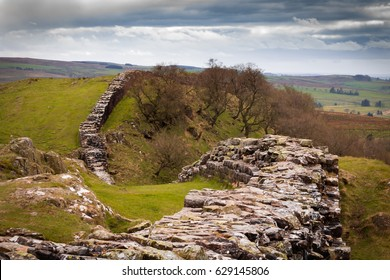 Dramatic view of the remains of Hadrian's Wall.