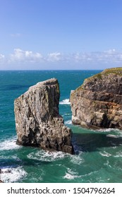 Dramatic View of Stack Rocks, Pembrokeshire, Wales