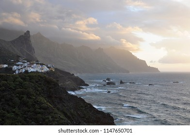 Dramatic view of a sunset in Taganana village, Tenerife, Atlantic Ocean