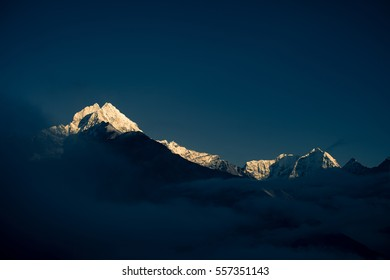 Dramatic view of Thamserku Mountain in the Himalayas,Nepal at the sunset