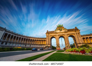 Dramatic view of the Triumphal Arch in Park Cinquantenaire in Brussels during sunset