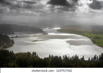 Dramatic View of Young's River Near Astoria, Oregon. The Youngs River is a tributary of the Columbia River, approximately 27 miles long, in northwest Oregon in the United States.