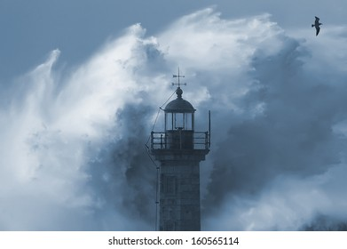 Dramatic wave during heavy storm weather conditions.